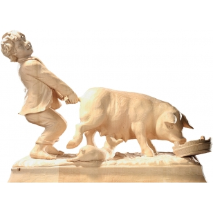 Statue shepherd with a pig